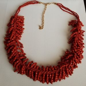Reitmans Orange Red Beaded Necklace with Gold